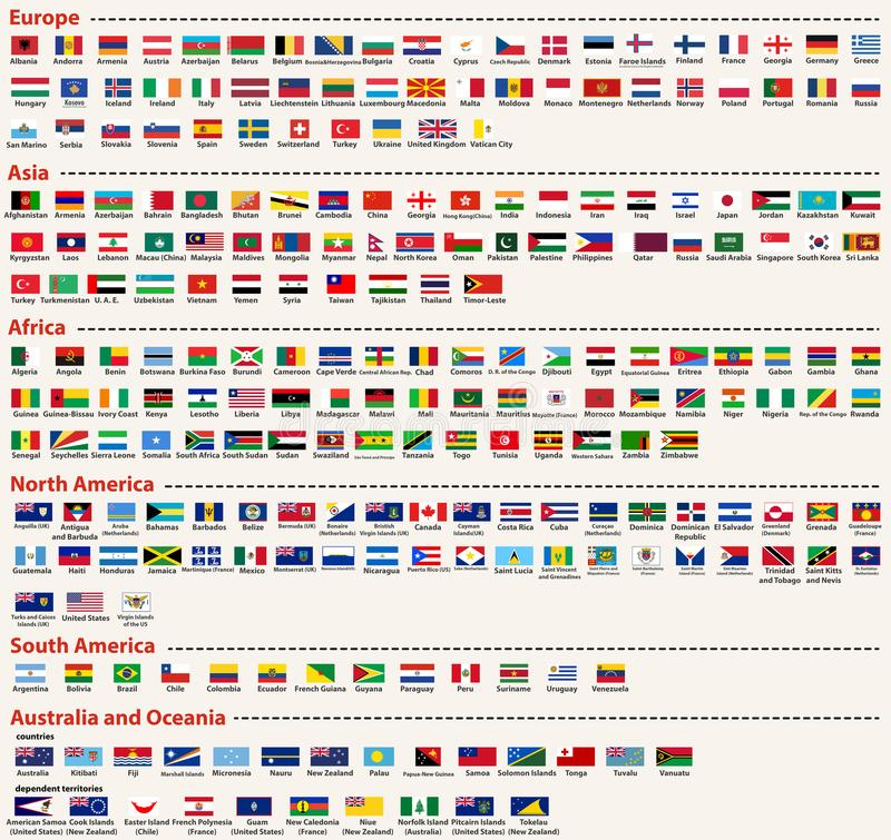 O grupo do vetor de todas as bandeiras do mundo arranjou em ordem alfabética e escolhido por continentes ilustração do vetor