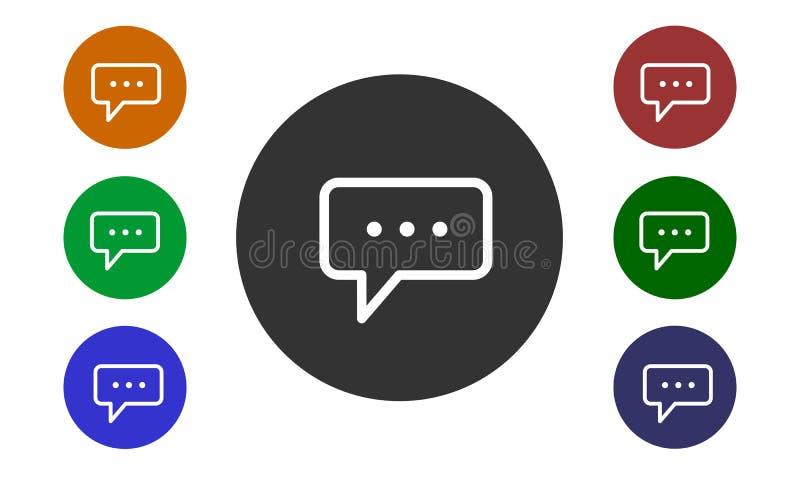 O grupo dos ícones circulares coloridos, comentários em Web site e em fóruns e na e-loja com um botão e uma imagem borbulha isola ilustração stock