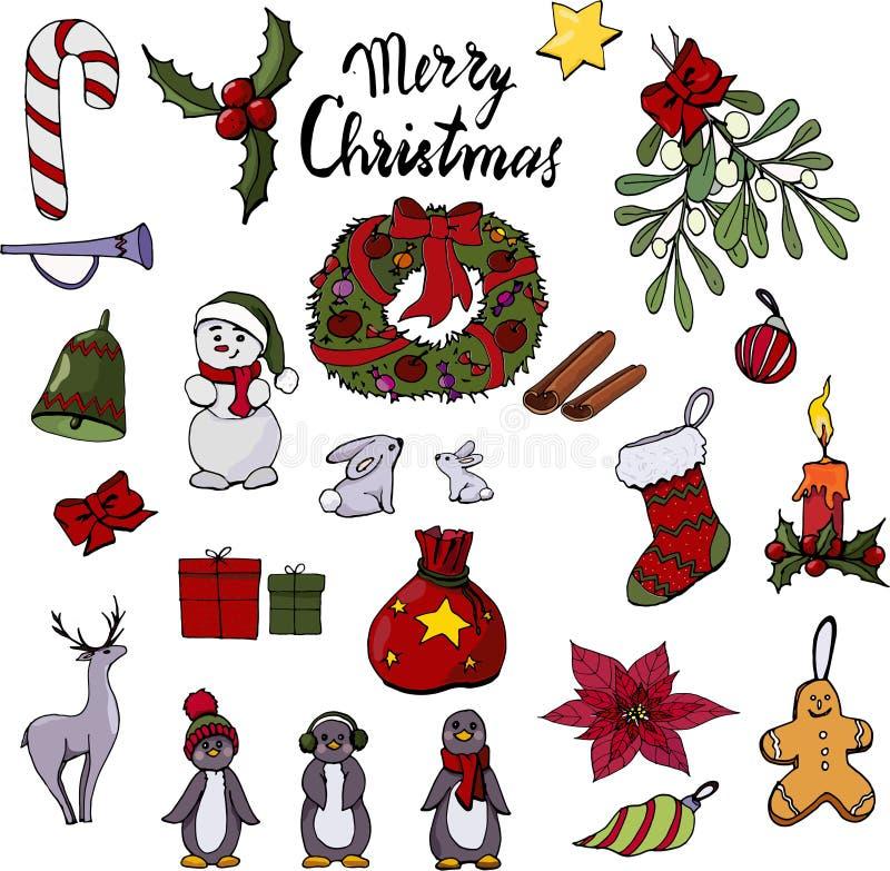 O grupo dos brinquedos do Natal e dos objetos da decoração ilustração royalty free