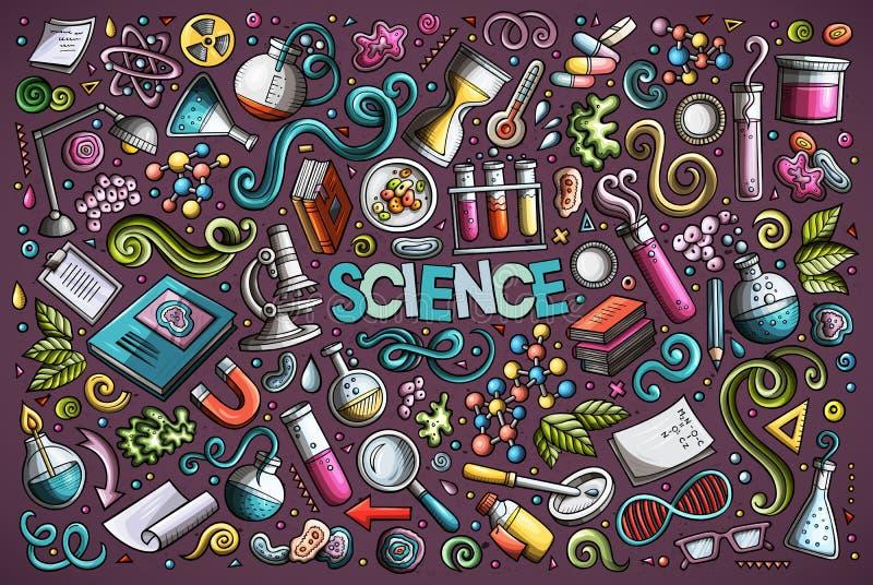 O grupo dos desenhos animados do vetor de tema da ciência objeta e símbolos ilustração royalty free