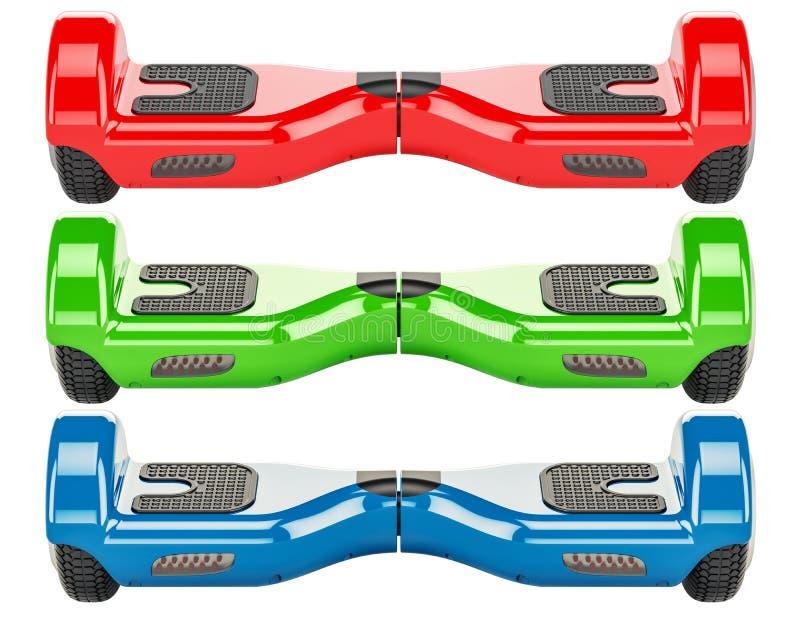 O grupo dos hoverboards coloridos ou dos 'trotinette's deequilíbrio, 3D rende ilustração do vetor