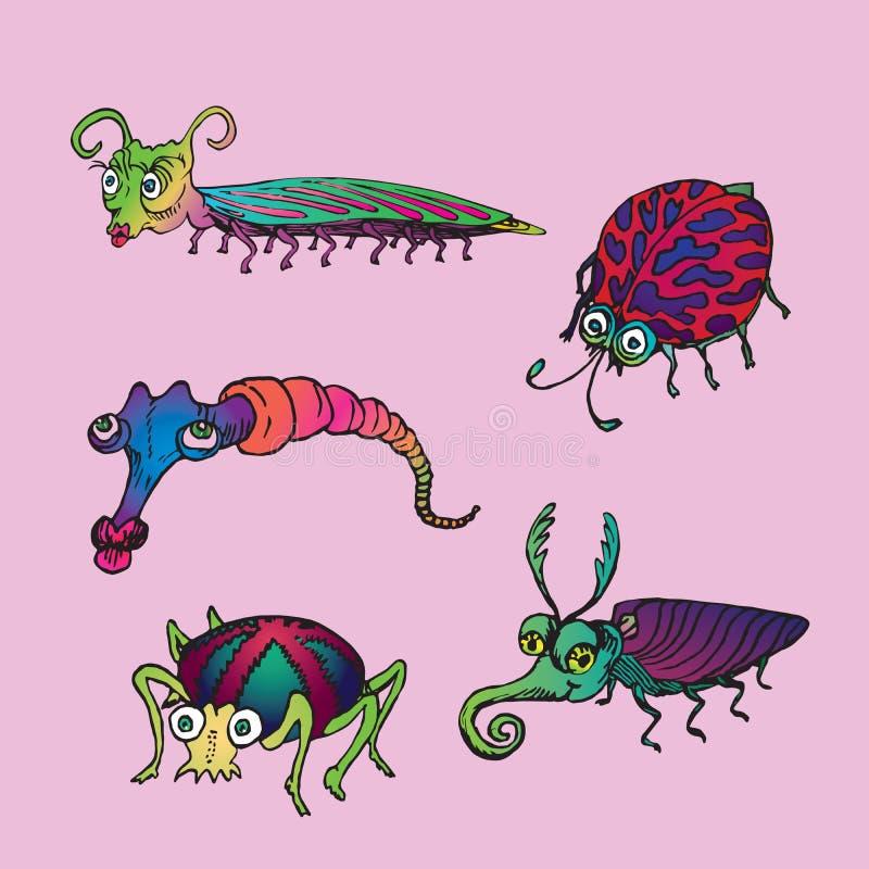 O grupo engraçado de scolopendra horned, polca vermelha pontilhou o joaninha, a lagarta cor-de-rosa, a aranha com cruz vermelha s ilustração royalty free