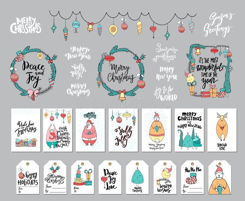 O grupo enorme de Natal e o ano novo projetam elementos: cartões, etiquetas, grinaldas, festão, rotulação escrita mão ilustração do vetor
