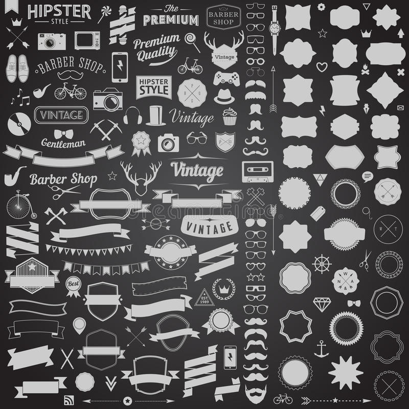 O grupo enorme de vintage denominou ícones do moderno do projeto Vector sinais e moldes dos símbolos para seu projeto