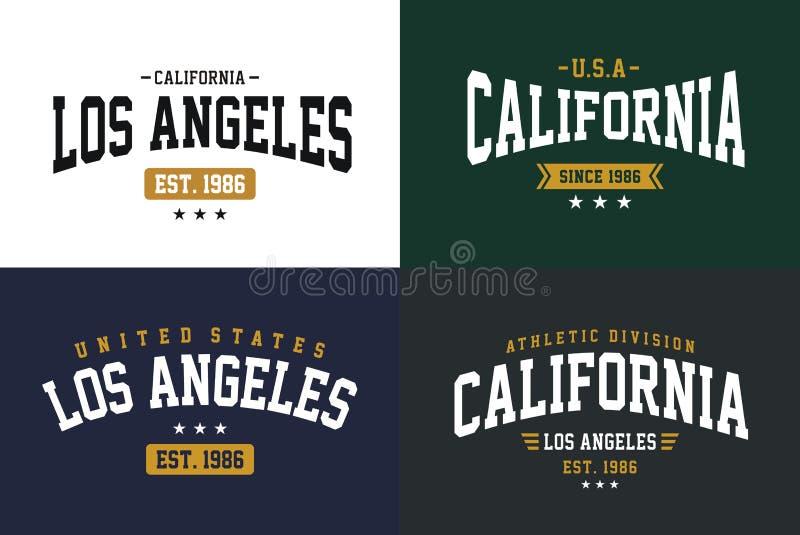 O grupo etiqueta o estilo do time do colégio, tipografia do esporte atlético de Los Angeles Califórnia para a cópia da camisa de  ilustração stock