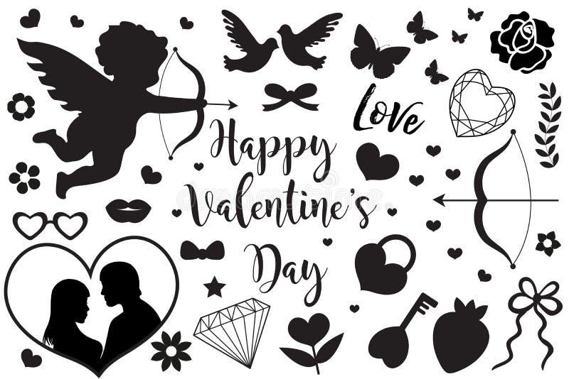 O grupo feliz do dia do ` s do Valentim de ícones escreve a silhueta preta Coleção romance bonito do amor de elementos do projeto ilustração royalty free