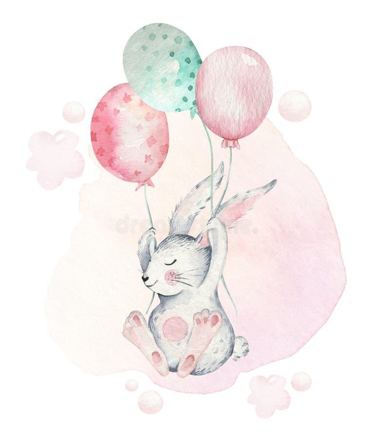 O grupo feliz tirado mão de easter da aquarela com coelhos projeta E ilustração stock