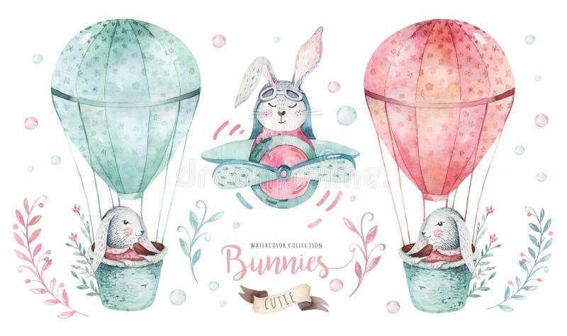 O grupo feliz tirado mão de easter da aquarela com coelhos projeta Estilo boêmio do coelho, ilustração isolada dos ovos no branco ilustração do vetor
