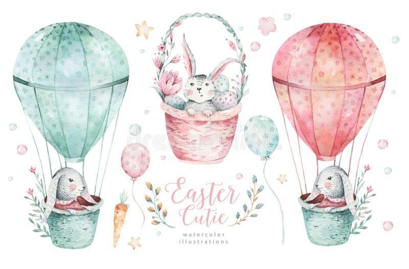 O grupo feliz tirado mão de easter da aquarela com coelhos projeta Estilo boêmio do coelho, ilustração isolada dos ovos no branco ilustração royalty free