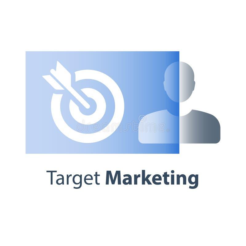 O grupo foco, mercado de alvo, satisfação do cliente e retenção, personalizou a propaganda, o recrutamento e a formação no trabal ilustração royalty free