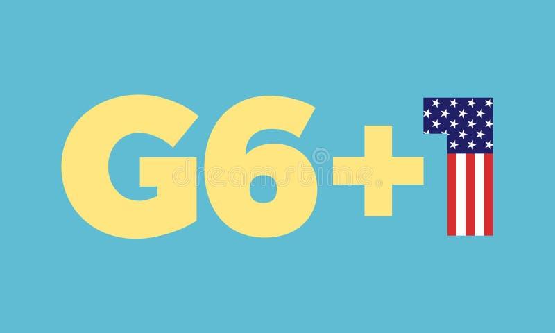 O grupo G-7 é dividido em G6+1 ilustração royalty free