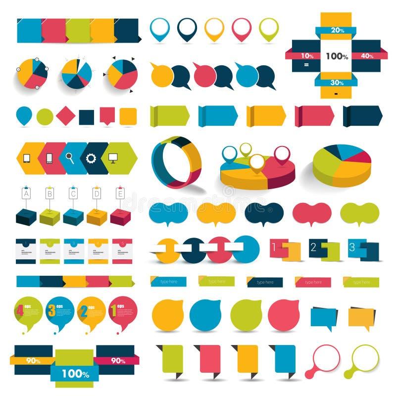 O grupo grande de cartas de elementos infographic, diagramas, discurso borbulha ilustração do vetor