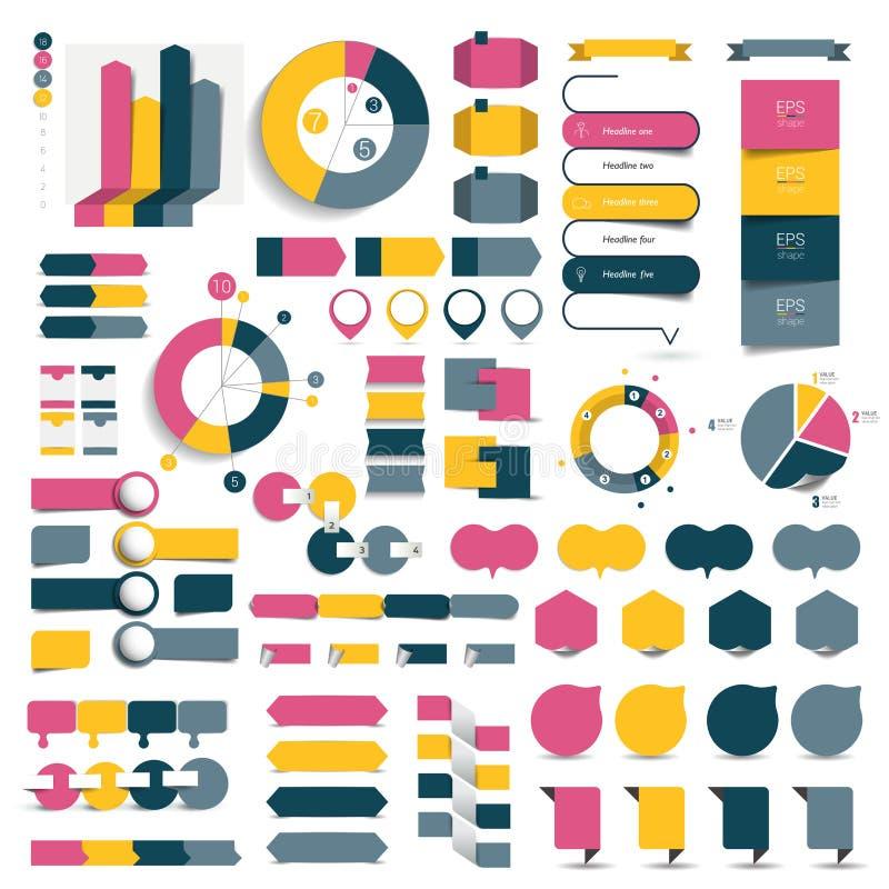 O grupo grande de cartas de elementos infographic, diagramas, discurso borbulha ilustração royalty free