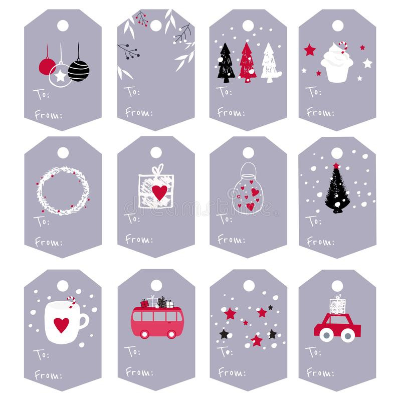 O grupo grande de Natal do vetor etiqueta com mão bonito os elementos tirados a fotografia de stock