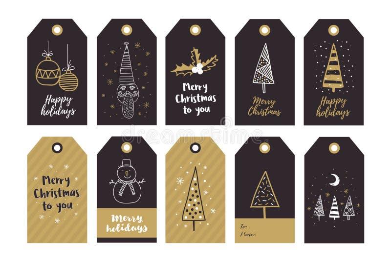 O grupo grande de presente criativo etiqueta com os elementos do desenho da mão para o ano novo feliz e o Natal ilustração do vetor