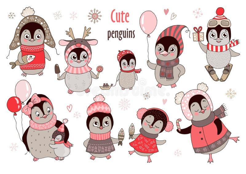 O grupo grande do Natal com os dez pinguins bonitos e os flocos de neve para o ` s do ano novo projetam fotografia de stock