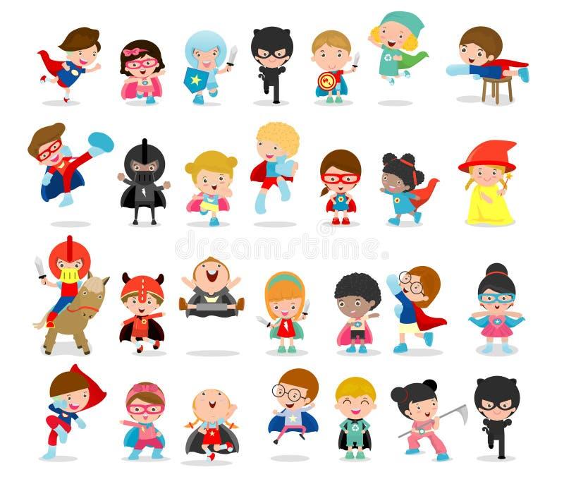 O grupo grande dos desenhos animados de super-herói da criança que vestem os trajes da banda desenhada, crianças com trajes do su ilustração royalty free