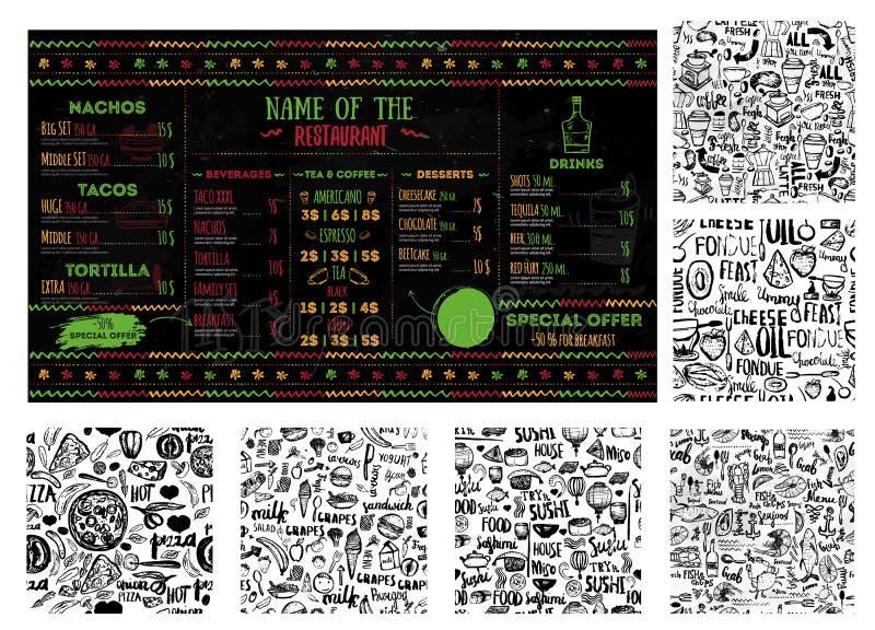 O grupo grande para a criação do menu do alimento com coffe, peixe, mexicano kithcen, fondue, chinês, culinária das crianças com  ilustração royalty free