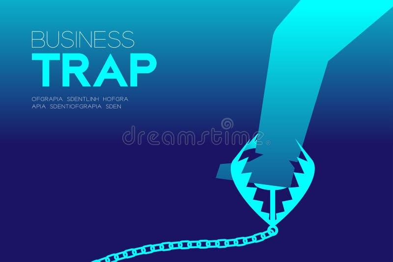 O grupo horizontal do projeto da armadilha do negócio, homem de negócios prendeu o conceito ilustração royalty free