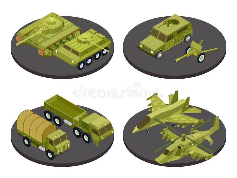 O grupo isométrico do ícone dos veículos militares com tanques transporta a ilustração do vetor dos sistemas de mísseis e dos tít ilustração stock