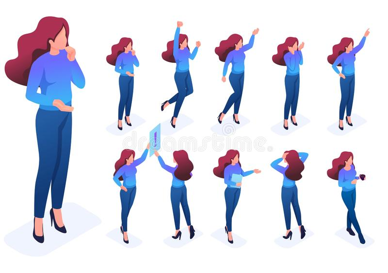 O grupo levanta o caráter dos gestos, mulher cria o fundo isolado ilustrações do vetor ilustração stock