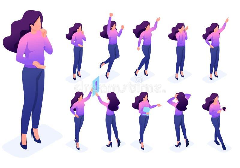 O grupo levanta o caráter dos gestos, mulher cria o vetor ilustração do vetor