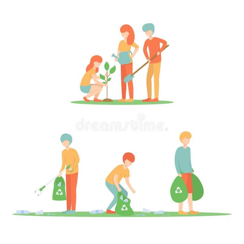 O grupo limpa o lixo e para plantar uma árvore ilustração royalty free