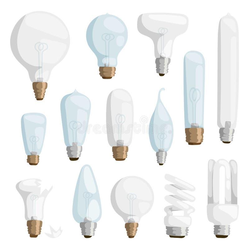 O grupo liso da ilustração do vetor do projeto da eletricidade da ampola das lâmpadas dos desenhos animados isolou o gráfico bril ilustração stock