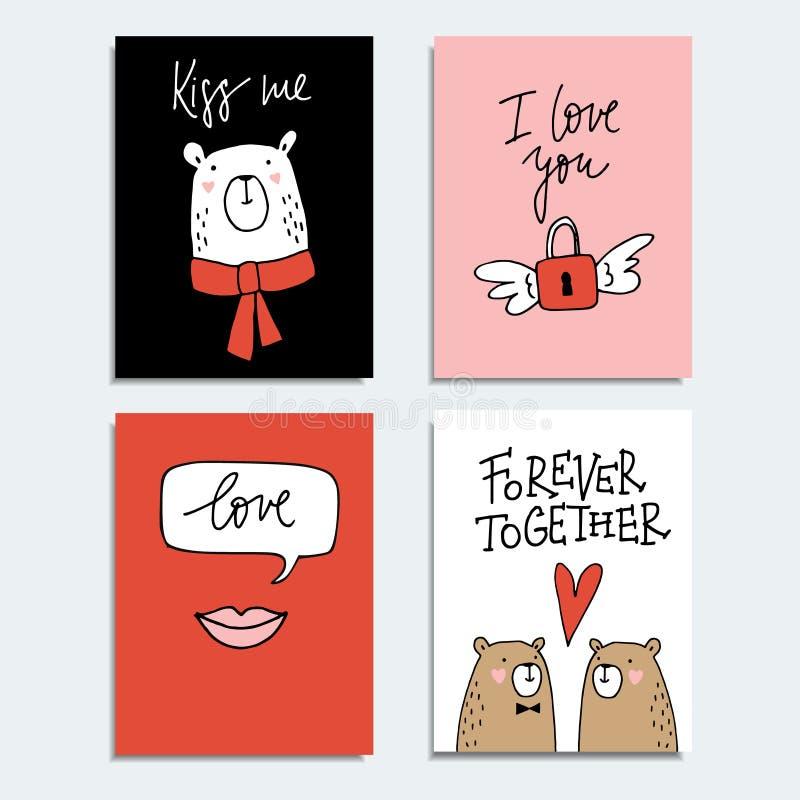 O grupo mão bonito de cartões tirados de dia ou de casamento de Valentim, os convites com pares de ursos, os bordos e o voo padlo ilustração royalty free