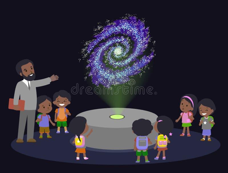 O grupo marrom africano do cabelo preto da pele da escola primária da educação da inovação caçoa a galáxia da ciência do planetar ilustração royalty free