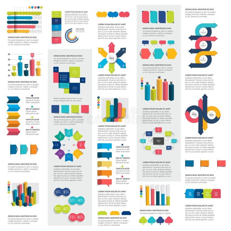 O grupo mega de cartas de elementos do infographics, gráficos, cartas do círculo, diagramas, discurso borbulha ilustração do vetor
