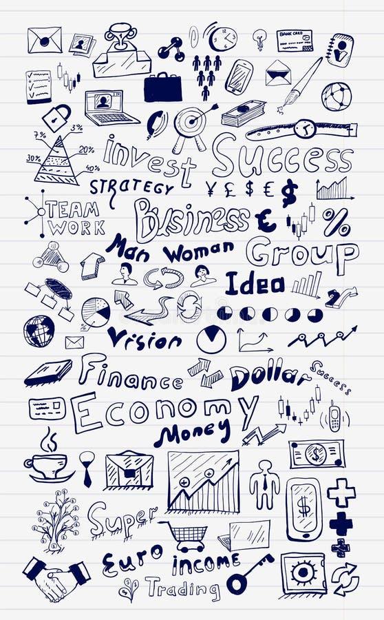 O grupo mega de mão do negócio e da finança tirada rabisca elementos ilustração stock