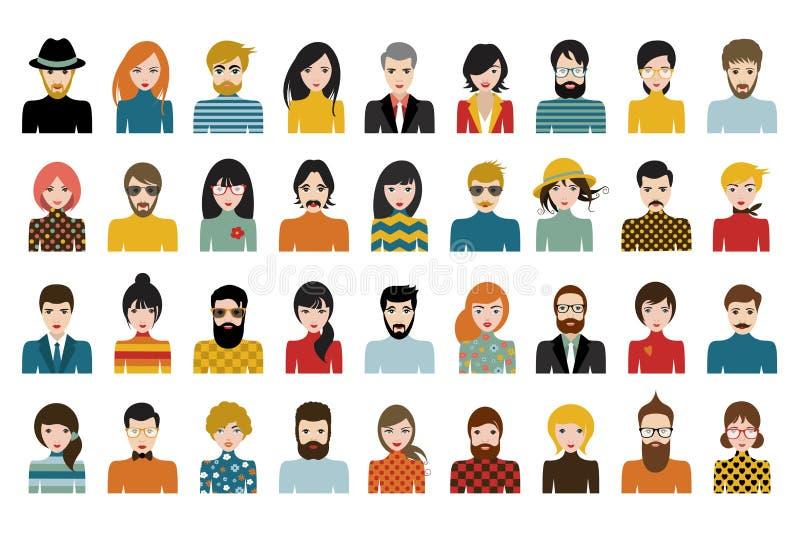 O grupo mega de pessoas, avatars, povos dirige a nacionalidade diferente no estilo liso ilustração stock