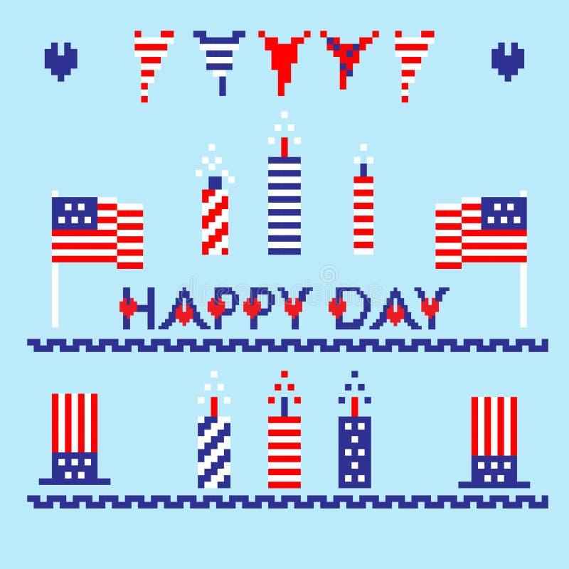 O grupo moderno de memorial, Dia da Independência do sumário, ícones da arte do pixel, isolou o fundo ilustração stock