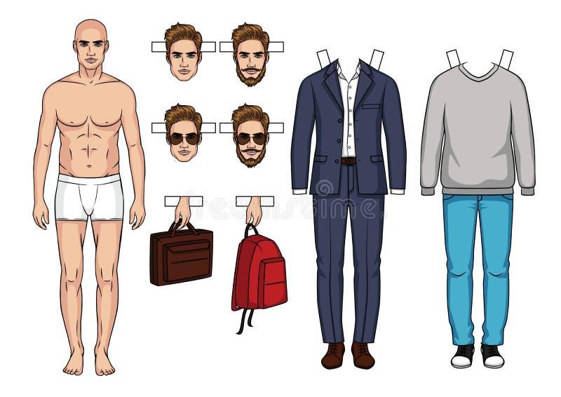 O grupo moderno elegante de roupa e accessorizes para homens ilustração do vetor