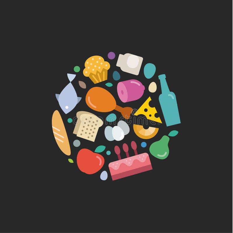 O grupo original de alimento liso dos ícones sob o logotipo, vector ilustrações coloridas da qualidade do projeto moderno ilustração stock