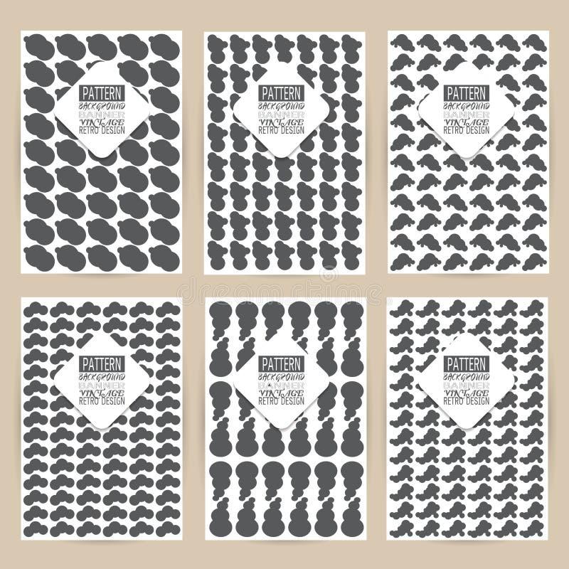 O grupo preto do teste padrão do vetor de cartões retros dos moldes dos folhetos da bandeira do fundo do vintage seis quadros pro ilustração do vetor