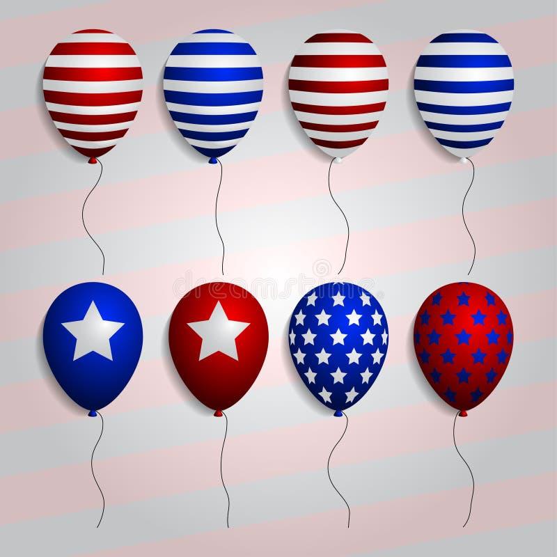 O grupo realístico balloons com símbolos e cores patrióticos americanos Vetor ilustração do vetor