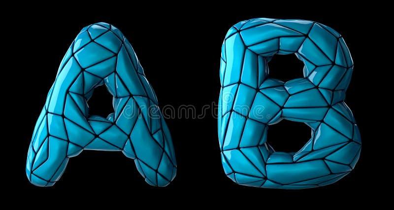 O grupo realístico A das letras 3D, B fez do baixo estilo poli Símbolos da coleção de plástico azul da cor do baixo estilo poli i ilustração stock