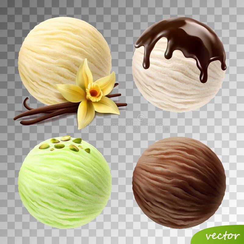 o grupo realístico do vetor 3D de gelado escava a flor da baunilha e as varas, pistaches, chocolate de fluxo ilustração do vetor