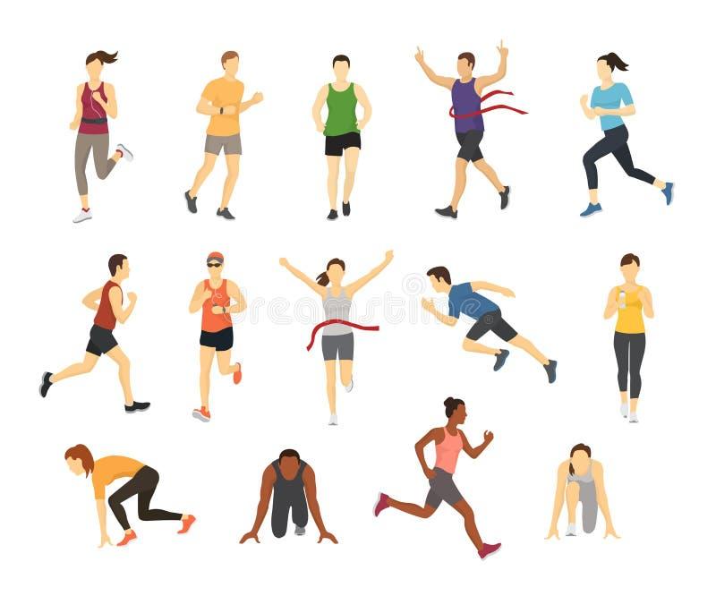 O grupo running diferente do corredor dos povos do esporte dos athlets com projeto de caráter da silhueta dos elementos do jogo d ilustração royalty free