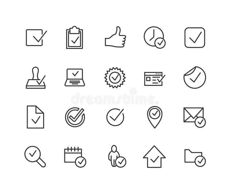 O grupo simples de aprova linha relacionada ícones do vetor Contém tais ícones como os polegares acima, o selo, a lista de verifi ilustração royalty free
