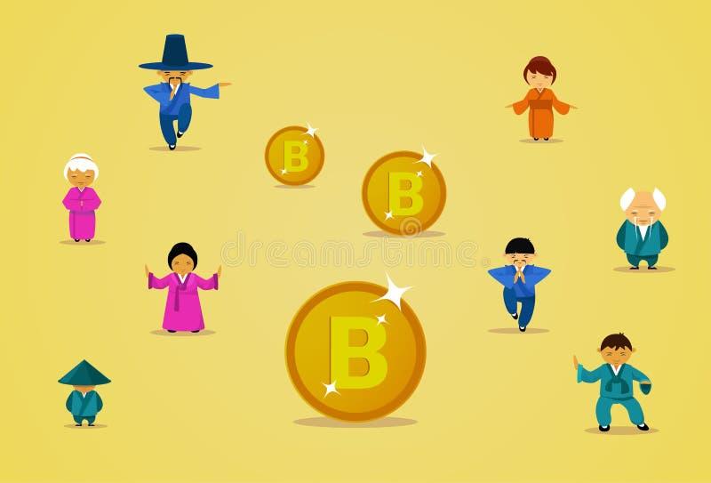 O grupo tecnológico de mineração de Bitcoin de povos asiáticos na roupa tradicional com bocado dourado inventa a Web de Cryptocur ilustração royalty free