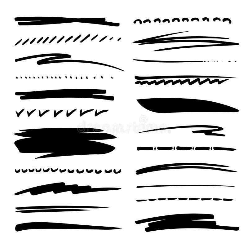 O grupo tirado mão da coleção de sublinha cursos no estilo da garatuja da escova do marcador Escovas de Grunge ilustração do vetor
