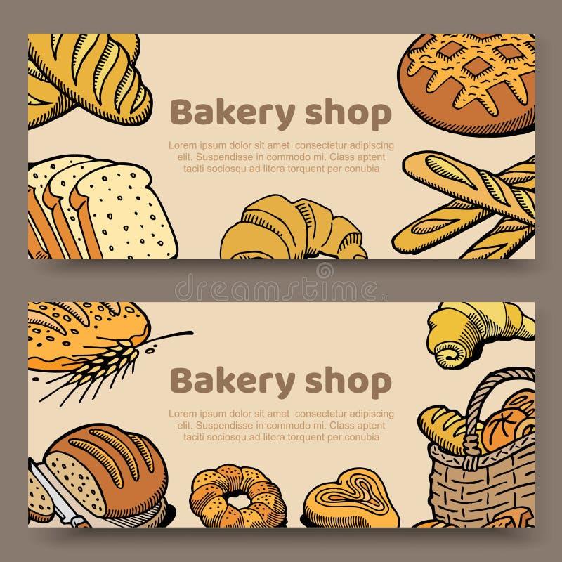 O grupo tirado mão de ilustração do vetor carda a coleção de presentes, do pão, de bolos e de pastelarias de cozimento em torno d ilustração stock