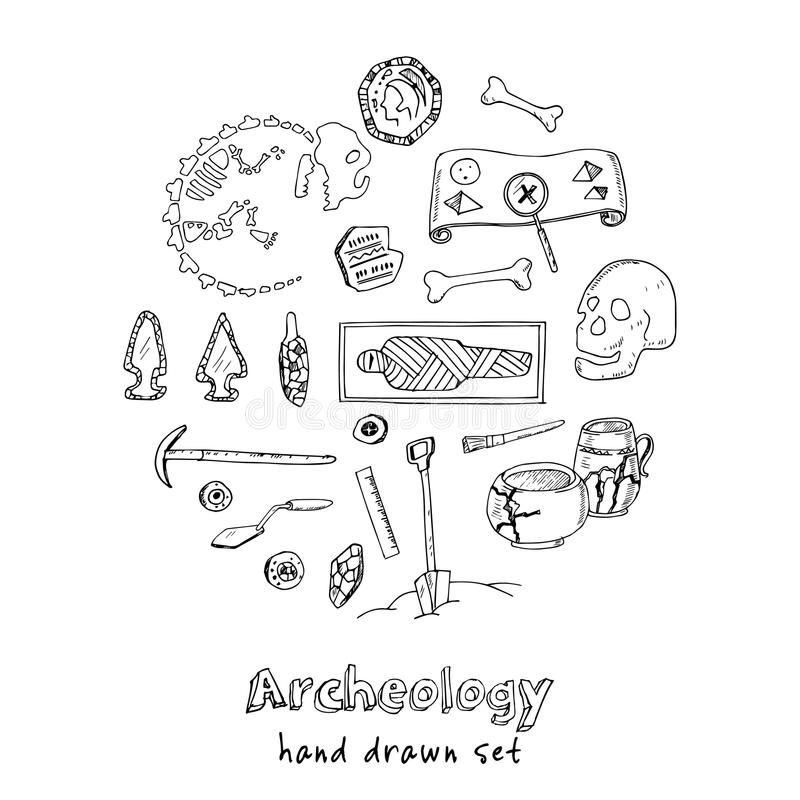 O grupo tirado mão do esboço da arqueologia de achados antigos paleontological e arqueológicos isolou a ilustração do vetor ilustração royalty free