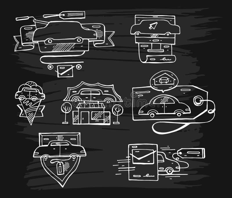 O grupo tirado mão do vetor de gráfico alinhou elementos, emblemas e ícones do logotipo do carro ilustração do vetor