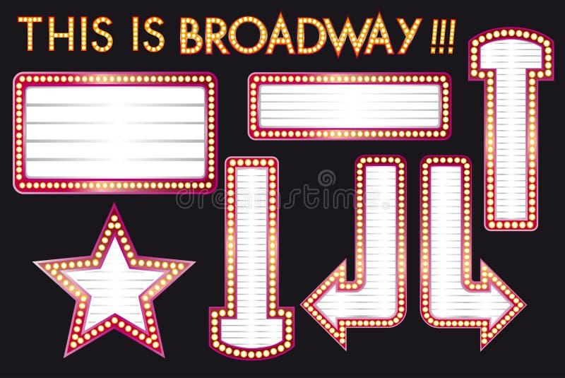O grupo vazio realístico do quadro de avisos do bulbo do famoso do vetor inspirou ao estilo de Broadway ilustração stock