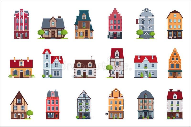 O grupo velho da fachada das casas do europeu, casas coloridas de estilos arquitetónicos diferentes vector ilustrações em um bran ilustração do vetor
