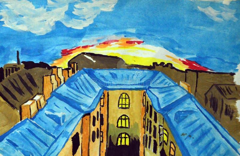 O guache pintou telhados da cidade no fundo do alvorecer ilustração stock